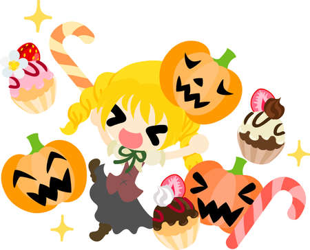 Halloween and jack-o-lanterns and a girl and sweets