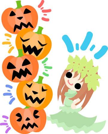 Halloween and jack-o-lanterns and a pretty goddess Illustration