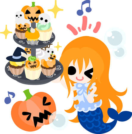 Halloween and jack-o-lanterns and a pretty mermaid Illustration
