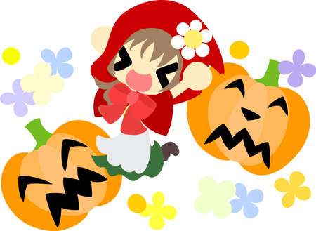 little red riding hood: Halloween and jack-o-lanterns and pretty little red riding hood Illustration