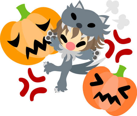 Halloween and jack-o-lanterns and a cute wolf girl Illustration