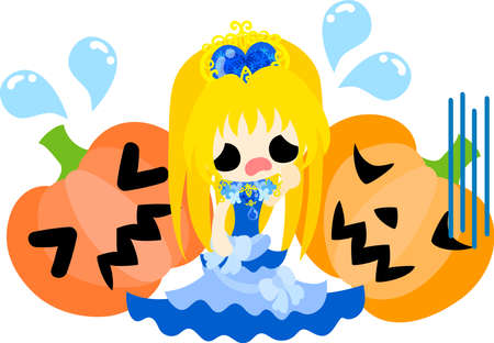 Halloween and jack-o-lanterns and a pretty princess