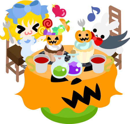 Halloween and jack-o-lanterns and a girl and a rabbit eating sweets Illustration