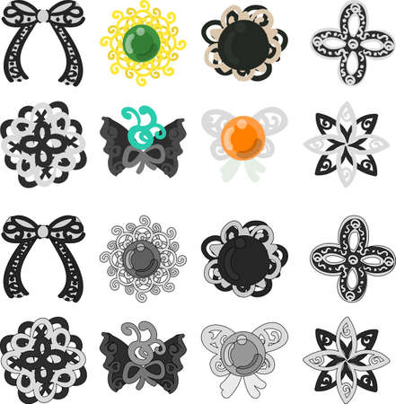 broach: The pretty and stylish icons such as ribbons or broaches.