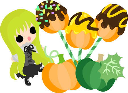 A cute little girl and the candy of pumpkin  イラスト・ベクター素材