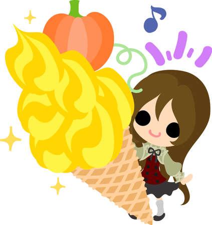 soft cream: A cute little girl and the soft cream of pumpkin