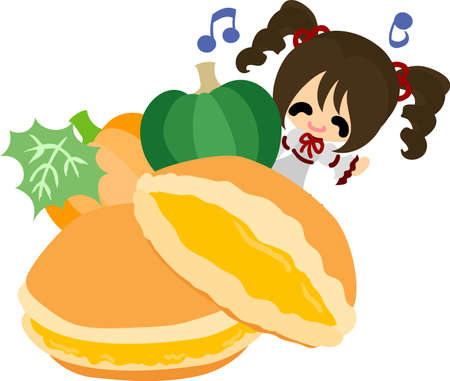 A cute little girl and the pancake sandwich of pumpkin  イラスト・ベクター素材
