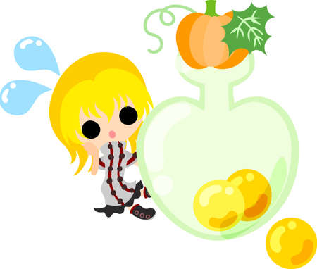 A cute little girl and the candy of pumpkin Illustration