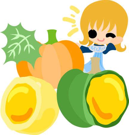 sweet bun: A cute little girl and the sweet bun of pumpkin