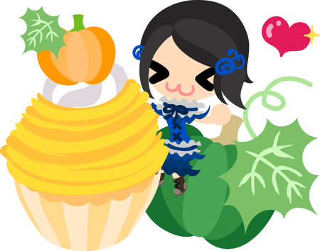 A cute little girl and the Mont Blanc of pumpkin