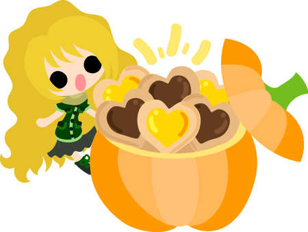 A cute little girl and the cookie box of pumpkin  イラスト・ベクター素材