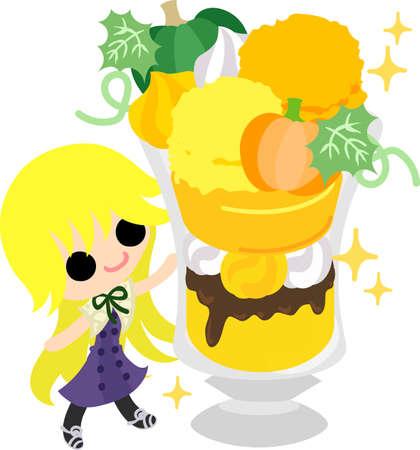 A cute little girl and the parfait of pumpkin