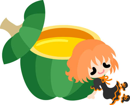 A cute little girl and the pudding of pumpkin  イラスト・ベクター素材