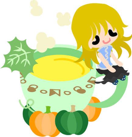 woman drinking milk: A cute little girl and the milk of pumpkin Illustration