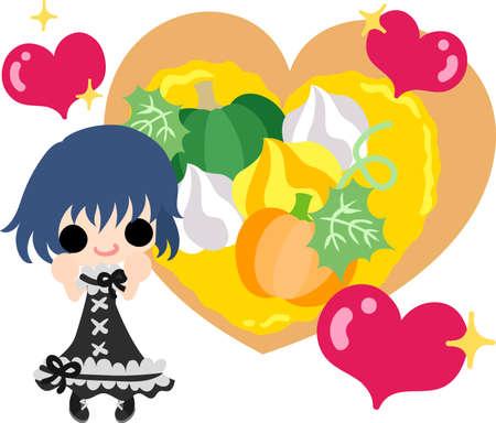 tart: A cute little girl and the tart of pumpkin Illustration