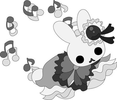 personification: The pretty little rabbit in a dress Illustration