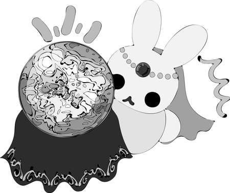 The pretty little rabbit which does the figure of the fortune teller Illustration