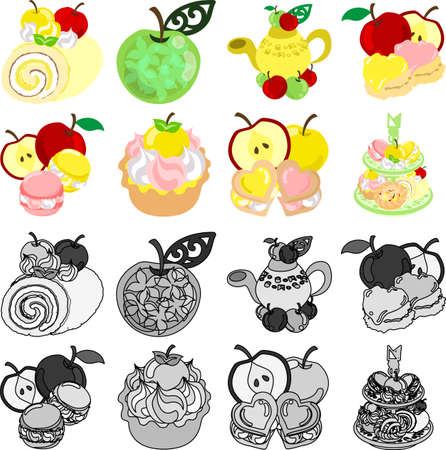 scone: The roll and jewel and tea and pot and scone and macaroon and tart and cookie of apple Illustration