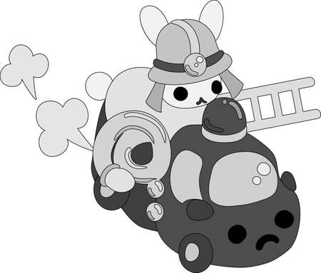 The pretty little rabbit  which does the figure of the firefighter