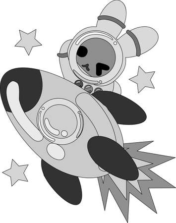 The pretty little rabbit  which does the figure of the astronaut Illustration