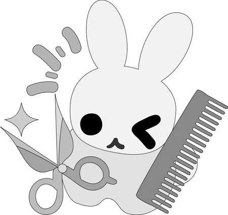 personification: The pretty little rabbit which does the figure of the hairdresser Illustration