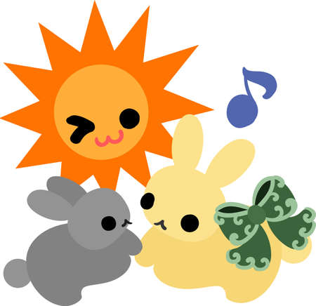 fine weather: The pretty little rabbits and the sun Illustration