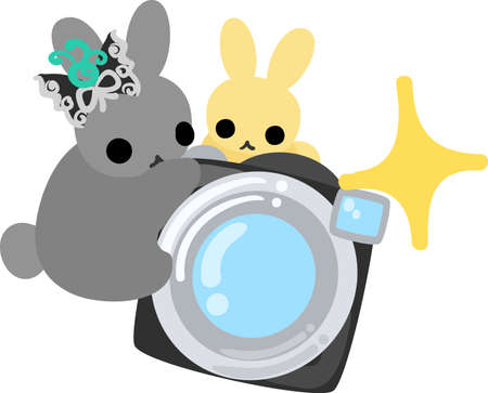 The pretty little rabbits and a camera Illustration