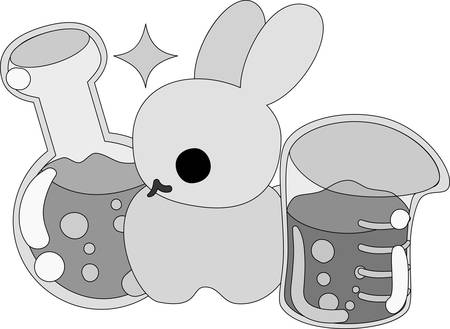 personification: The rabbit which does the figure of the scientist Illustration