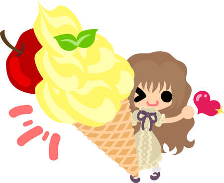 A cute little girl and the ice cream of the apple Illustration