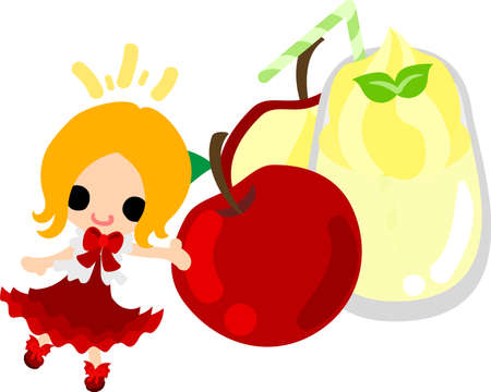 A cute little girl and the smoothie of the apple  イラスト・ベクター素材