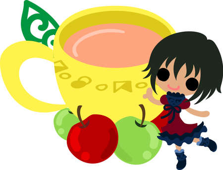 A cute little girl and the apple tea