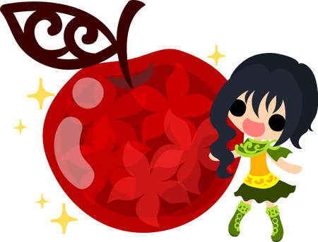 A cute little girl and the jewel of the apple