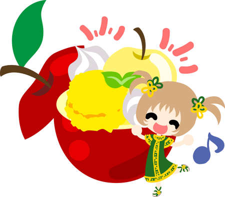 A cute little girl and the sherbet of the apple  イラスト・ベクター素材