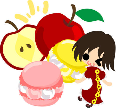 macaron: A cute little girl and the macaron of the apple