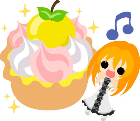 A cute little girl and the tart of the apple  イラスト・ベクター素材