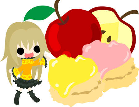 A cute little girl and the scone of the apple