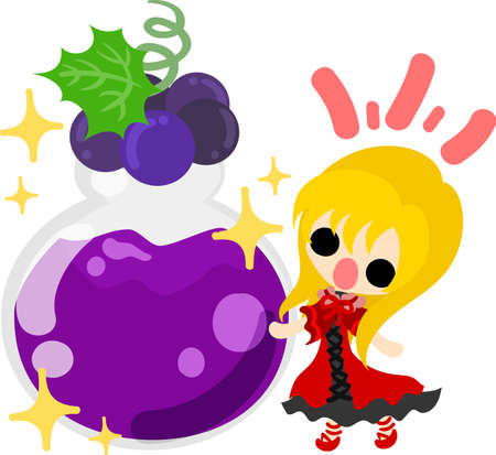 A cute illustration of a little girl and the jam of the grapes Illustration