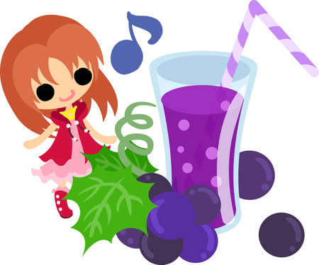 A cute illustration of a little girl and the juice of the grapes