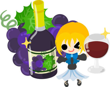 A cute illustration of a little girl and the wine of the grapes  イラスト・ベクター素材