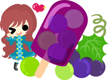 sherbet: A cute illustration of a little girl and the sherbet of the grapes