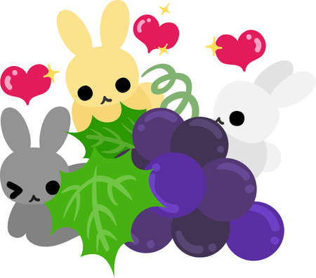A cute illustration of cute rabbits and the grapes  イラスト・ベクター素材
