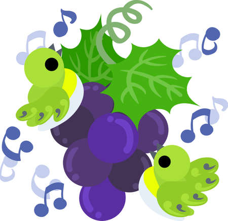 A cute illustration of singing little birds and the grapes