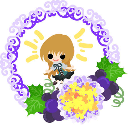 A cute illustration of a little girl and the wreath of the grapes