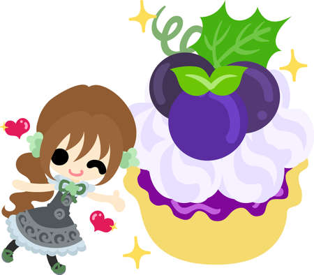 A cute illustration of a little girl and the tart of the grapes