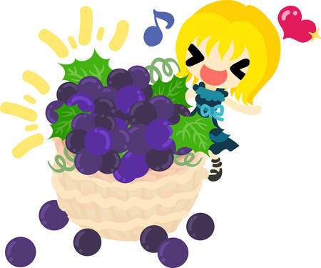A cute illustration of a little girl and the full basket of the grapes