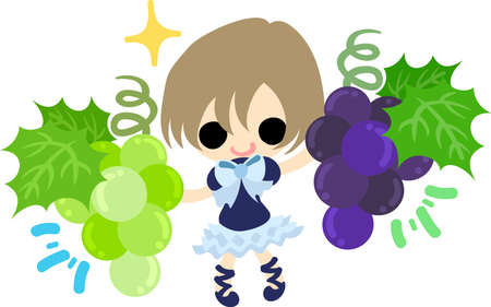 A cute illustration of a little girl and  grapes and muscat