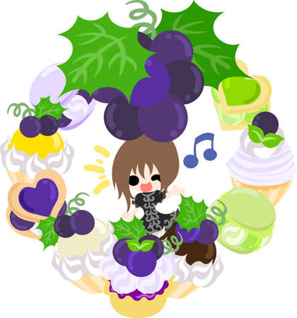 A cute illustration of a little girl and the sweets wreath of the grapes  イラスト・ベクター素材