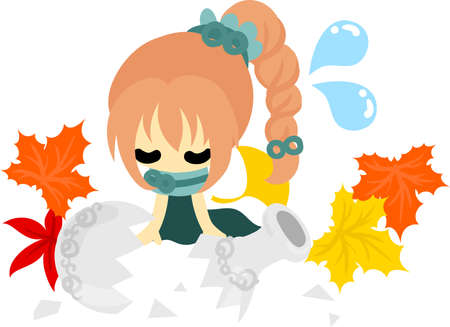 perplexity: The cute illustration of autumn and girl-Broken vase-
