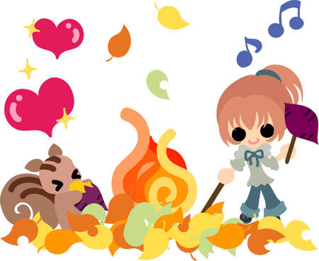 baked potatoes: The cute illustration of autumn and girl-Delicious baked sweet potatoes- Illustration