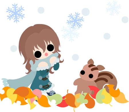 The cute illustration of autumn and girl-Autumn snowfall-